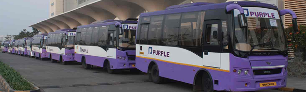 Prasanna Purple Mobility Solutions buses parked trapeze group bus software