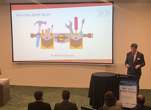 David Panter Trapeze Group presenting at AusRAIL 2018 EAM