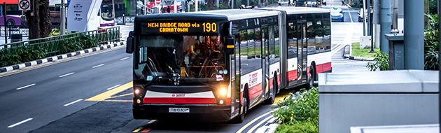 Singapore Land Transport Authority (LTA) bus in motion intelligent transport systems