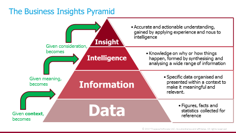 The Business Insights Pyramid including data, information, intelligence and insight
